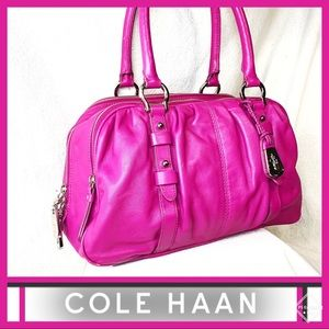 COLE HAAN Pink Cornelia Triple Zip Satchel EUC